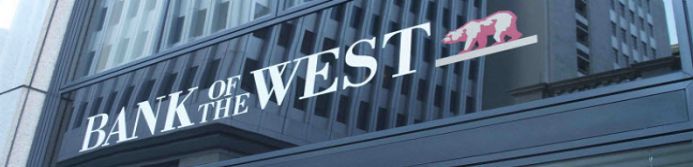 bank of the west sign outside of a bank branch